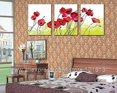 Red Poppies Modern Wall Art High Quality Canvas Et Add Custom Made Oil Painting Windows Western Paintings Free Shipping P(China (Mainland))