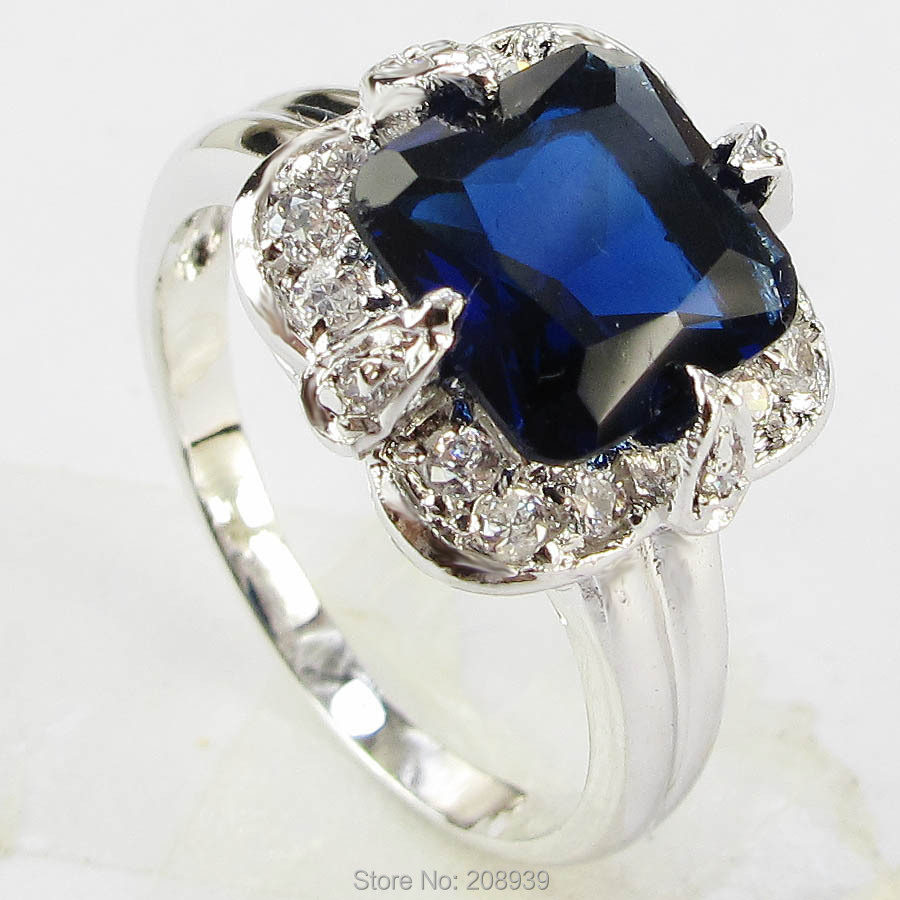 Stunning Fashion 3.5CT Synthetic Emerald&Sapphire Zircon Heavy 14K White Gold Plated Ring #1215,27 size 6 7 8 9(China (Mainland))
