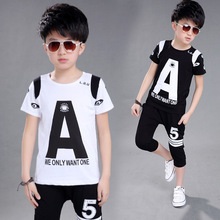 New 2016 Summer Clothing Sets Kids Short Sleeve T-Shirt Shorts 2pcs Suits Children Clothes Sets For Boys Printing Letter A