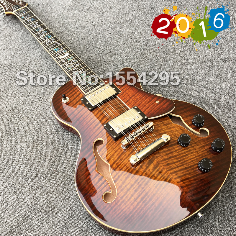 Mejor 12 Cuerdas de la Guitarra Eléctrica, efes Cuerpo hueco Guitarra con Arce Flameado, Flor Incrustaciones de abulón Diapasón, Russet(China (Mainland))