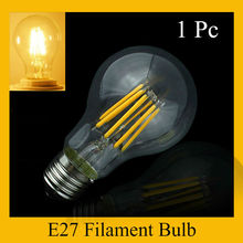 Buy 1x New E27 LED Filament Light Glass Housing Cob Bulb Lamps 230V 220V 4W 8W 360 Degree Retro Candle Lamp Lighting Edison A60 for $1.89 in AliExpress store