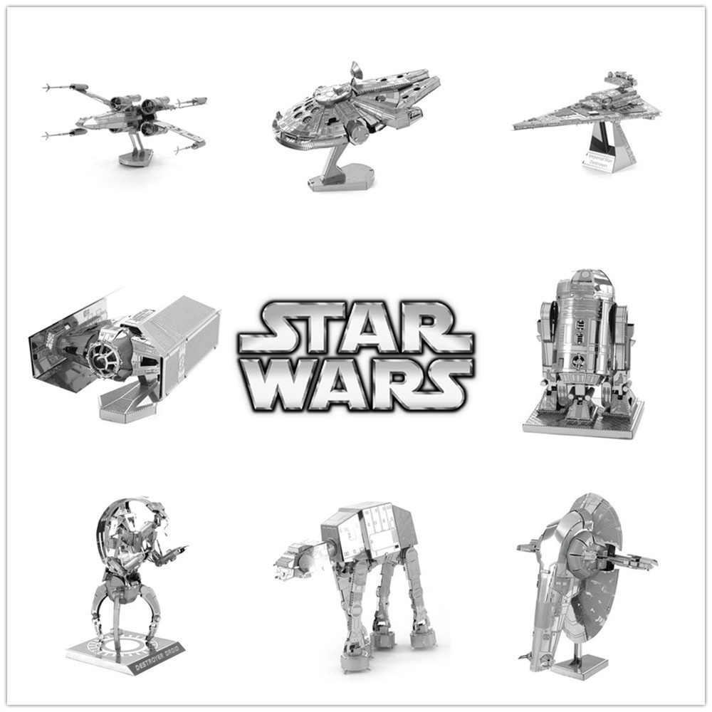 New Miniature Star Wars 3D Metal Puzzle Scale Model R2D2 ATAT X-wing Tie Fighter Millennium Falcon Destroyer Droid Toys for Gift(China (Mainland))