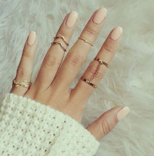 Punk style Crystal Gold plated Stacking midi Finger Knuckle ring Charm Leaf Ring Set for women anelli anillo Jewelry