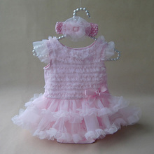 Newborn Baby Girl Ruffle Dress Clothes Princess Style Summer Girls Romper Dress & Headband Pink Infant Party Costume Dresses