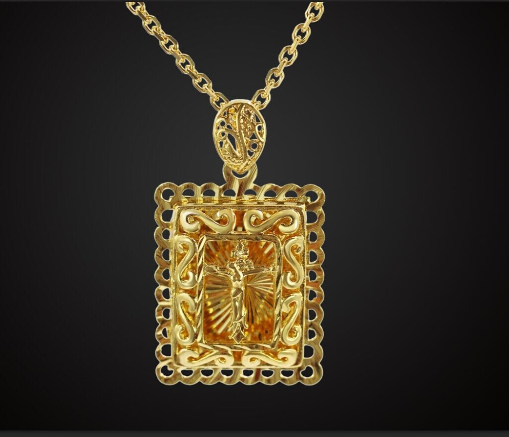 Colar Trendy 18K Real Gold Plated Inri Crucifix Jesus Cross Pendant & Brand Exo Cross Necklace Women/Men Jewelry Gift Wholesale(China (Mainland))