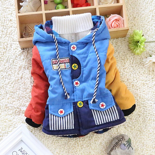 Hot sale 2014 new children clothing patchwork boys cool winter warm jacket kids girls outwear coats sweaters boys Down & Parkas(China (Mainland))