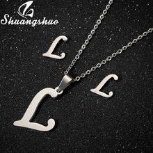Shuangshuo قلادة طقم مجوهرات s ل الفولاذ المقاوم للصدأ للنساء قلادة إلكتروني القلائد أقراط طقم مجوهرات التعشيب(China)