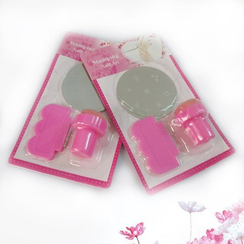 Free Shipping, Stamping Nail Art Kit, 3 in 1 Round Stainless Steel Image Plate, 10 set/lot