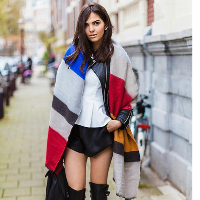 2016 новое поступление зима мода женщин евро сочетание цветов лоскутная полосатый красочные радуга толстые теплые кашемировые длинный шарф