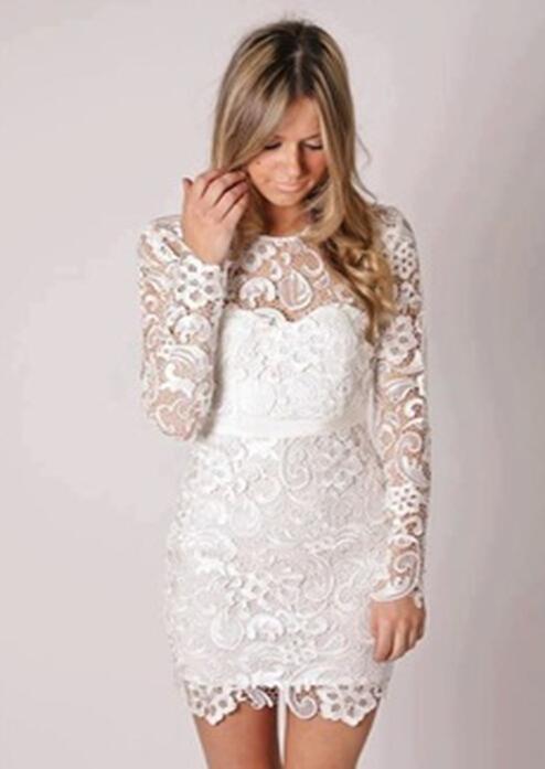 2015 new cheap dress party evening elegant knee length long sleeve