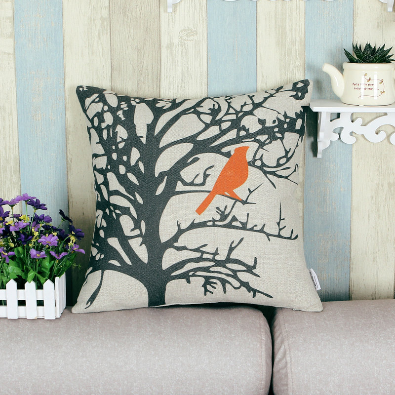 Cushion Cover Throw Pillow Shell Home Sofa Cotton Linen Blend Cute Various Orange Color Birds Set