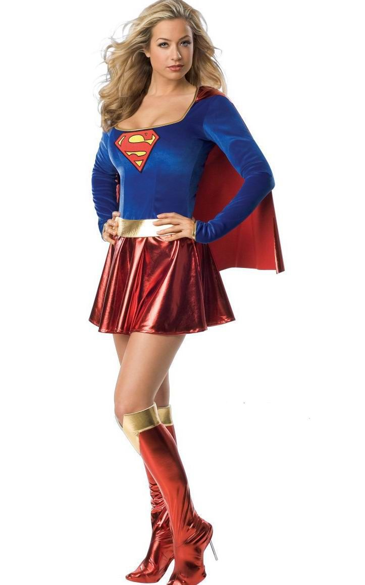Supergirl Adult Women Costume Women sexy halloween costumes +Free shipping Sexy Super Hero Adult Women Costume(China (Mainland))
