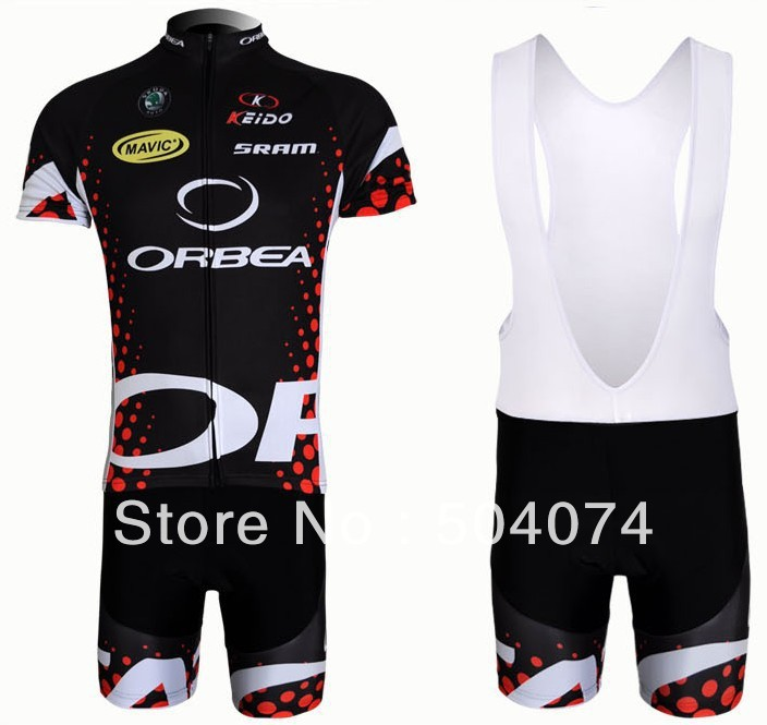 2011 ORBEA #3 black+red bib short sleeve cycling jerseys wear clothes bicycle/bike/riding jerseys+bib pants shorts