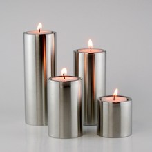 home hotel decoration Stainless steel cylindrical Candle Holders 4pcs/set  free shipping(China (Mainland))