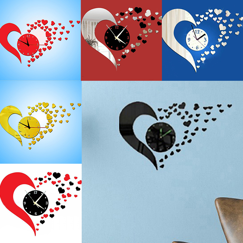 DIY 3D Wall Sticker Heart Mirror Decoration Clock Wall Stickers Home Decor Living Room Silver Sale(China (Mainland))