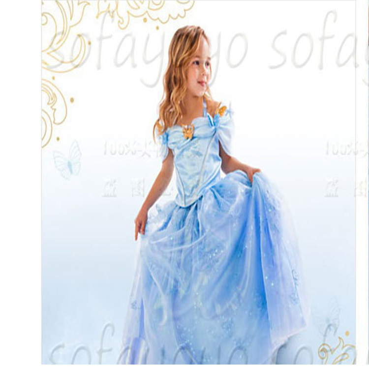 Child's Fair Tale Girls Cosplay Costume Cinderella Princess Party Performances Dress Girls Christmas Cinderella Costumes dress(China (Mainland))