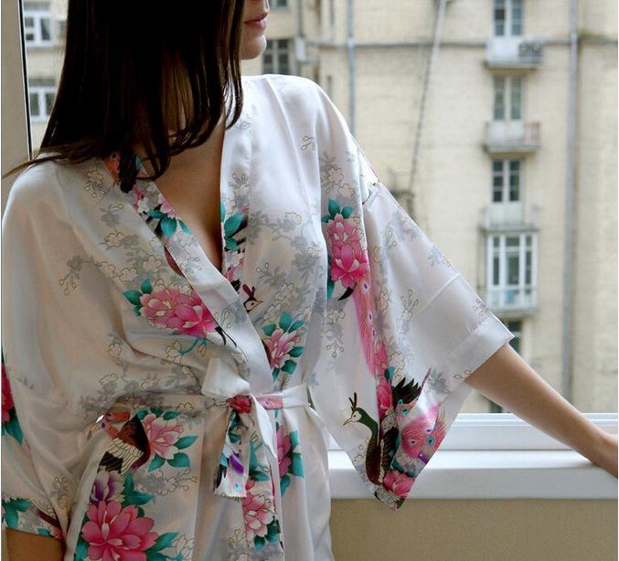 Sexy Charming Chinese Style Women's Silk Bathrobe V-Neck Nightwear Printed Bandage Sleepwear Size S M L XL XXL XXXL WR017(China (Mainland))