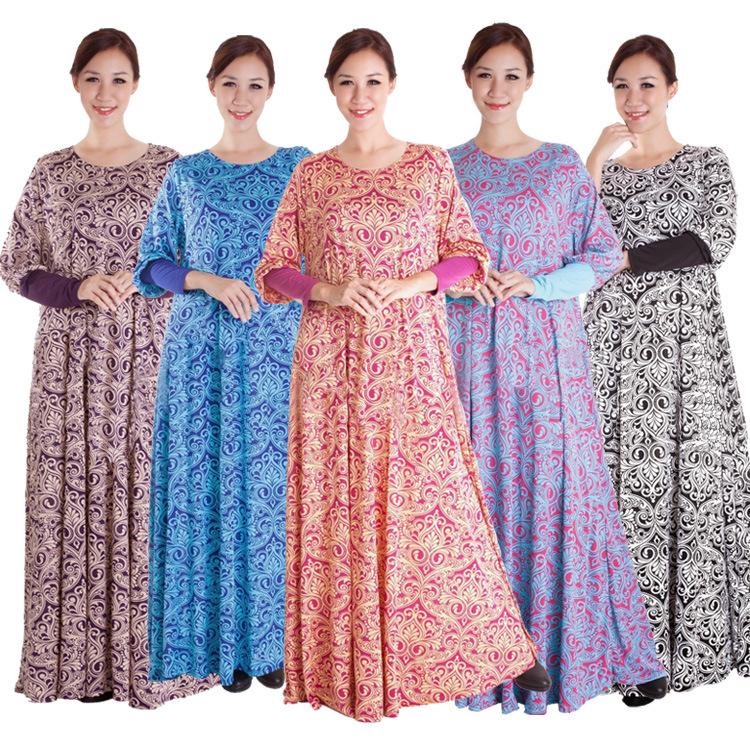 New Style Flower Print Ladies Beautiful Elegant Islamic Muslim Dress For Women Maxi Jilbabs