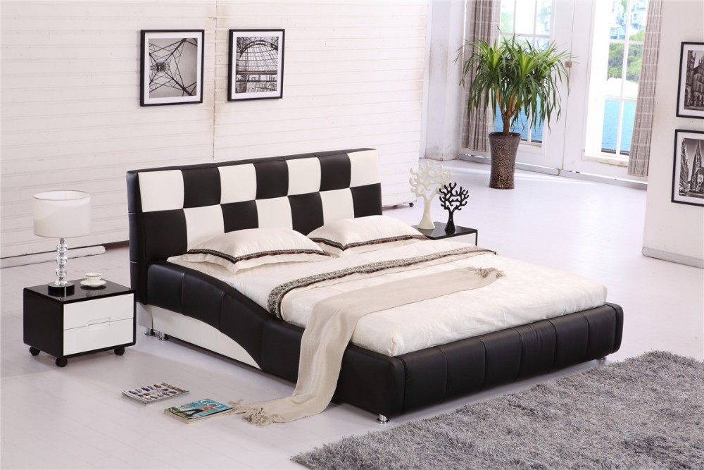 Malaysia Furniture Modern Leather Bed H8330 # |Lizz Bed hot sale bedroom furniture leather soft bed large soft leather bed(China (Mainland))