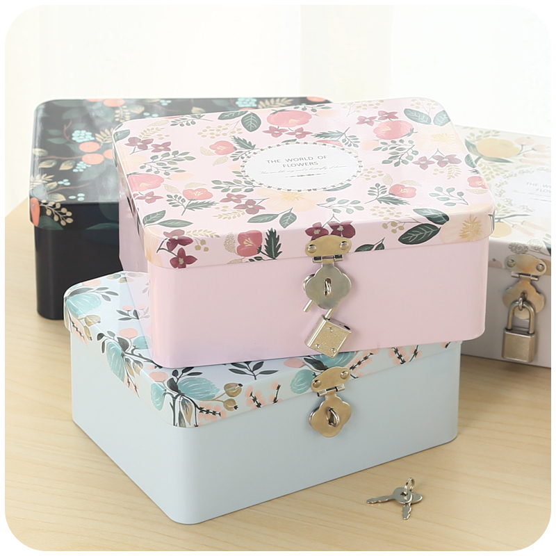 2015 New Style Iron Tin Storage Box Lockable storage box Original hand-painted desktop storage box tin box piggy bank(China (Mainland))