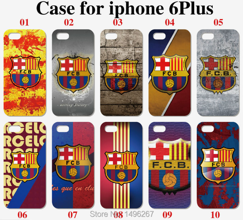 Hot Sale FC Barcelona Logo Mobile Phone Case Plastic White Hard Skin Cover For Apple iPhone 6 Plus 5.5 inch Free shipping(China (Mainland))