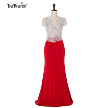 Yewen 0040 See Through Elegant Red Evening Dresses Long Women Crystal beading party Formal Gowns Prom dress 2016 robe de soiree(China (Mainland))