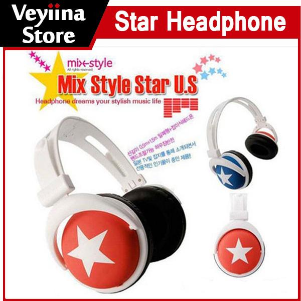 Fashion Mix Style 3.5mm Star Earphone Headphone Headset Ear Hook Headband Earphone For MP4 MP3 Phone Laptop Computer Wholesale(China (Mainland))