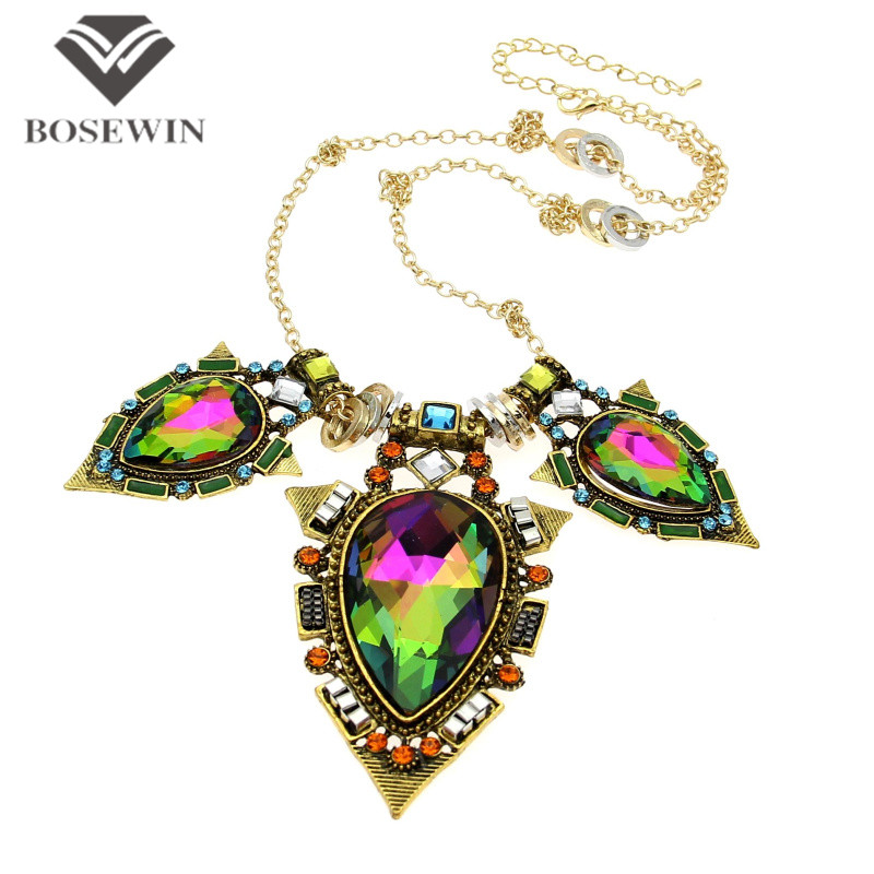 Hot Indian Style Fashion Long Chain Vintage Bright Big Coloured Glaze Crystal Pendants Statement Necklaces Brand Jewelry CE1017 - Bosewin Enterprise Ltd. store