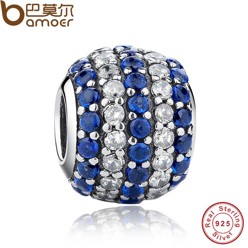Jewelry Making Nautical Pave Lights, Blue Clear CZ Gift Charms Fit Original Bracelet necklace 925 Sterling Silver Beads PAS141(China (Mainland))