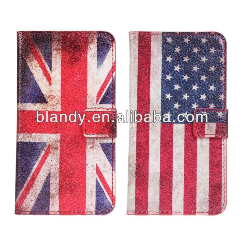 50pcs/lot free shipping New Wholesale flip retro UK and USA flag leather standing case for LG Optimus G2 D802 F320(China (Mainland))