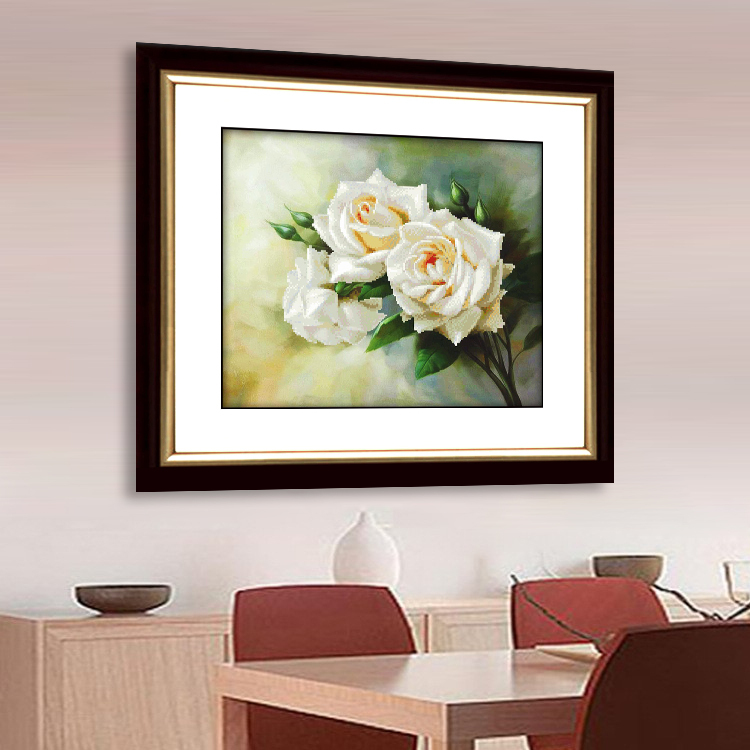 Needlework DIY DMC Cross stitch Sets For Embroidery kits <font><b>Elegant</b></font> white roses 3D Cross-Stitching Flowers <font><b>Home</b></font> <font><b>Decoration</b></font>