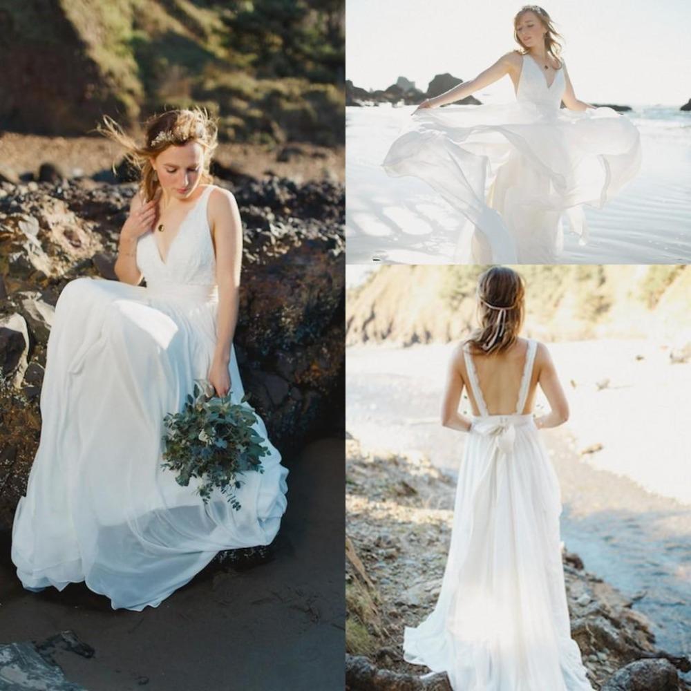 Bohemia boho beach wedding dresses white soft chiffon for White beach wedding dresses