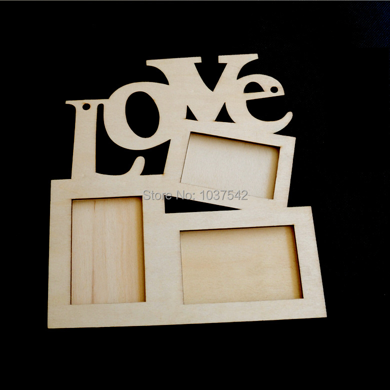 A20 Hollow Love Wooden Photo Frame White Base DIY Picture Frame Art Decor T1066 P(China (Mainland))