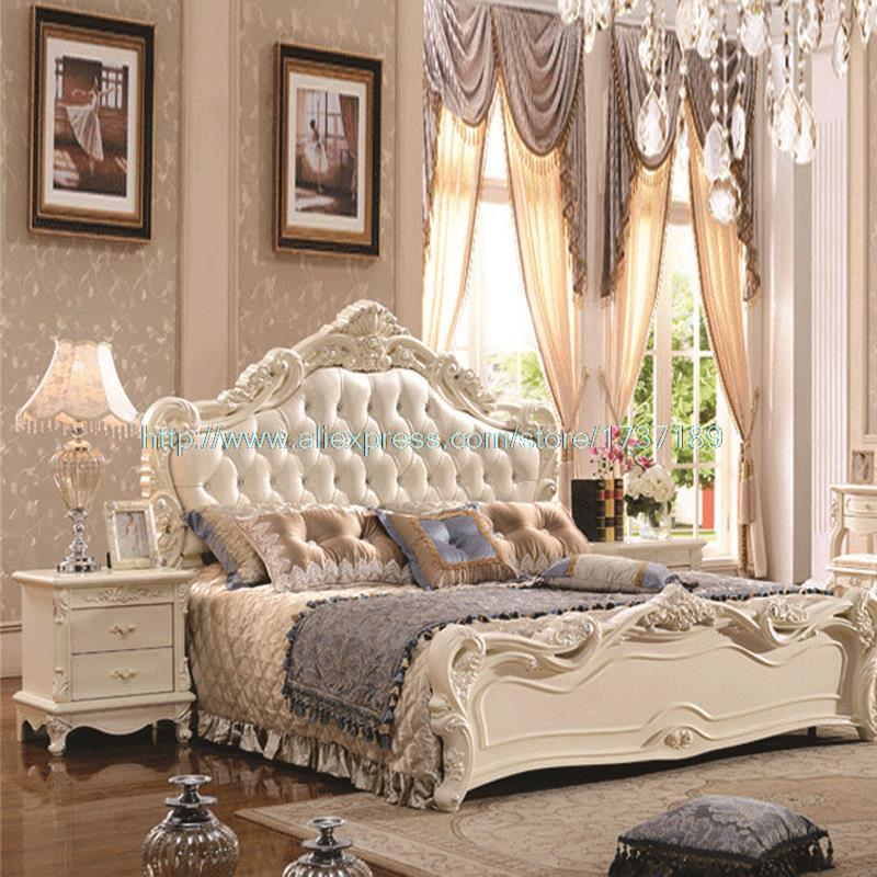 French Leather Luxury Double Bed 1.8 m marriage White Bed special offer new princess Bed bedroom furniture(China (Mainland))