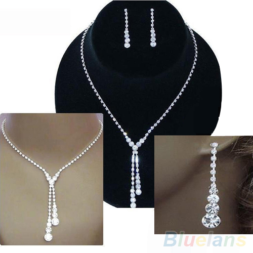 Wedding Bridal Clear Crystal Rhinestone Drop Necklace Earrings Jewelry Set Gift 1D2I(China (Mainland))