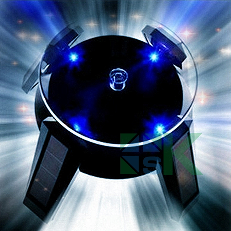 White Black New Solar Power 360 Degree Rotating Display Stand For Glasses Phone Beads Bracelet Watch Holder Rack LED Light(China (Mainland))