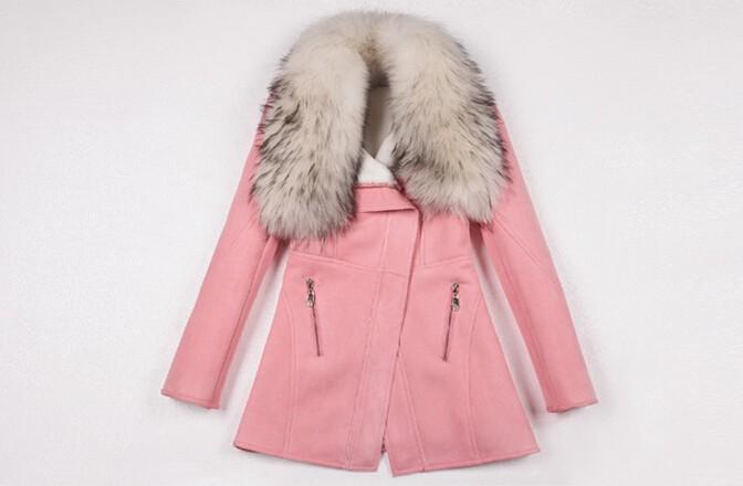 Зимние женские пальто куртка 100% реальный енот мех воротник пальто пуховики шубы женщин черный фиолетовый прямые