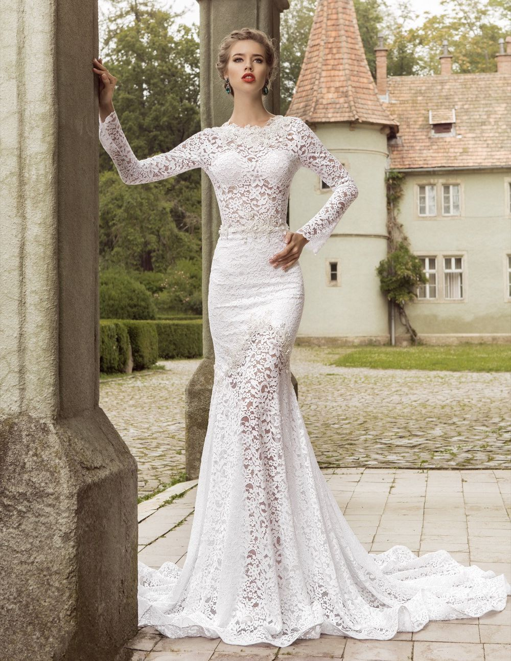 elegant mermaid lace wedding dresses 2016 crew neck sheer