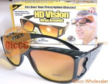 Free shipping Wholesale 24pc/lot HD Vision wraprounds Sunglasses TV glasses brand NEW