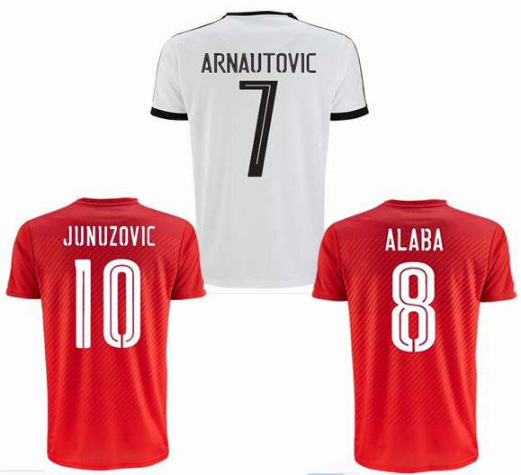 3A+++ Top thai quality 2016 Austria Soccer Jerseys 16 17 Austria Arnautovic Christian Jantscher Junuzovic Klein football shirt(China (Mainland))