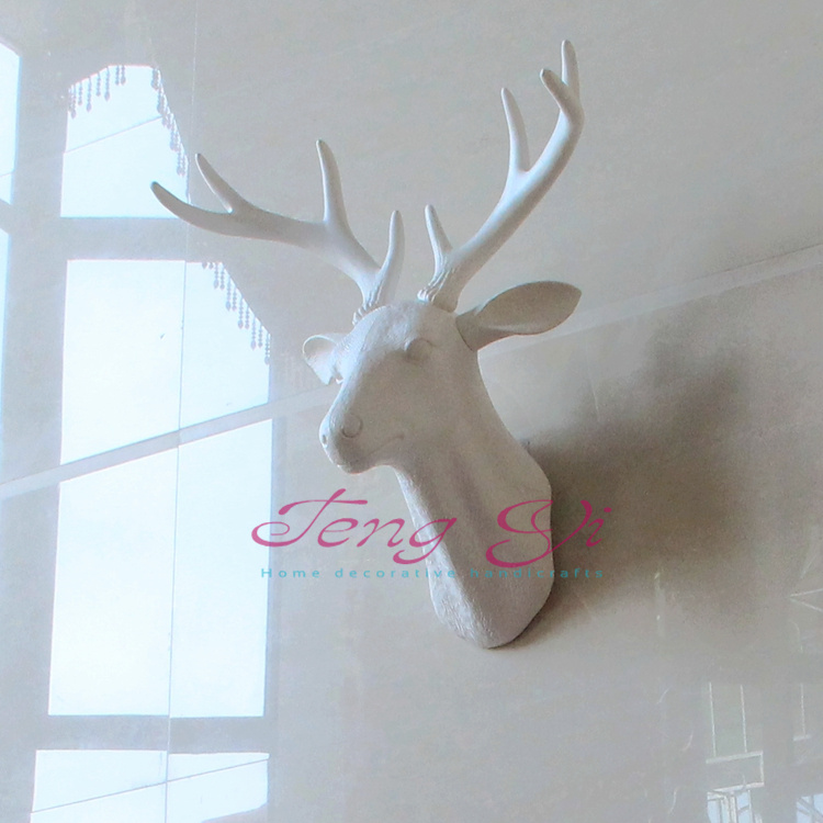 wall mounted hanging mini white whitetail buck bust deer head trophy hunt sculpture faux taxidermy as modern home decor ornament(China (Mainland))