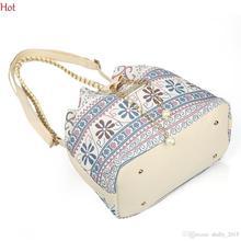 National Women Canvas Bags Drawstring Geometric Plaid Shoulder Bag Vintage College School Casual Crossbody Bags Girls