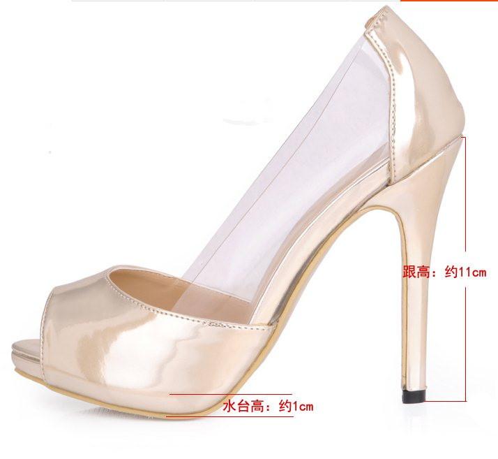 F9901 Big Size 35-43 2015 Women Fashion Sexy Peep Toe Light Gold PVC Thin Heel Dress Pumps Lady Party High Heel Shoes<br><br>Aliexpress