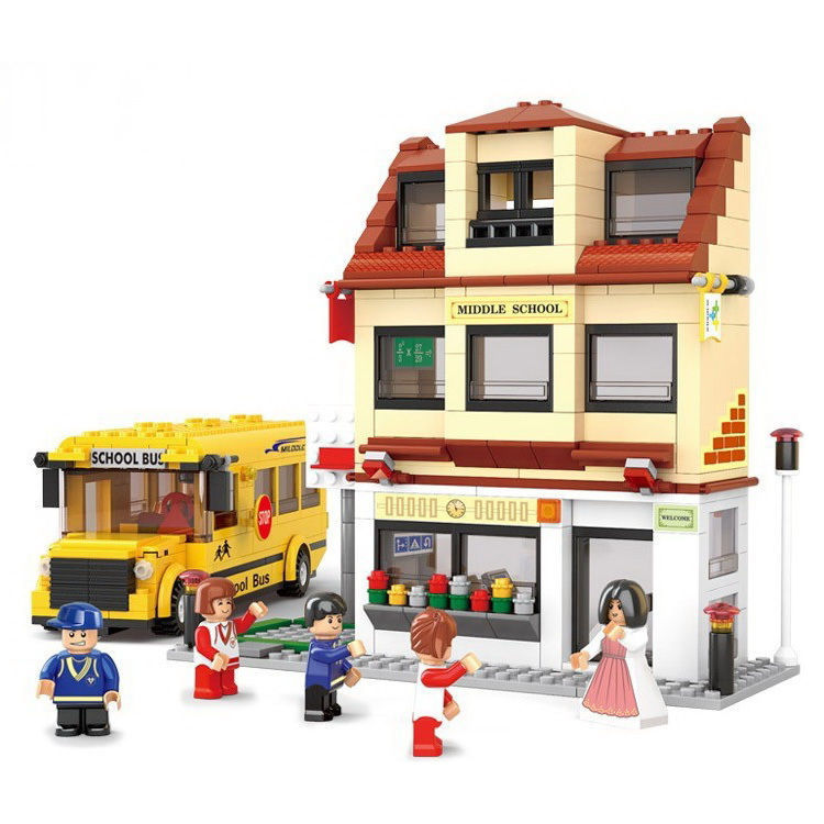 Yellow School Bus and Middle School - Building Block Toy(China (Mainland))