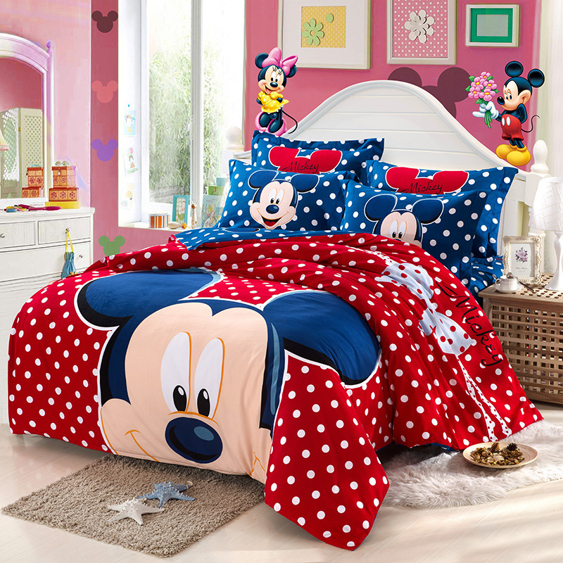 4pc Warm Sanding Cotton Bedding Set King Queen Size Mickey
