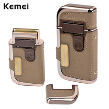 2 in 1 KEMEI Electric Rechargeable Men Shaver Razor Vintage Leather Wrapped Reciprocating Shaver Portable Electric Shavers 7747(China (Mainland))
