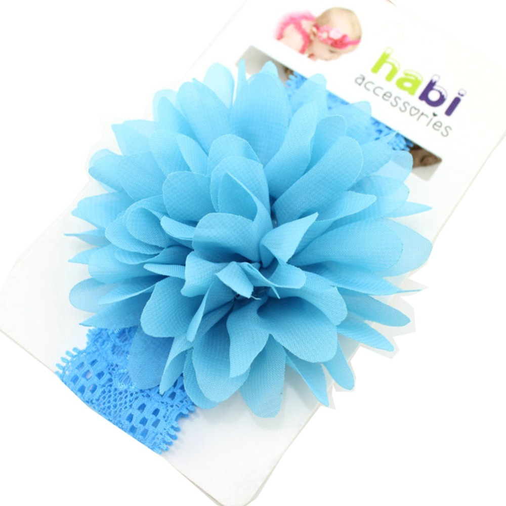 Red/Blue/Green/Purple/Rose Red/Light Pink Baby Chiffon Flower Headbands Girls Lace Headband Infant Hair Accessories 2015(China (Mainland))