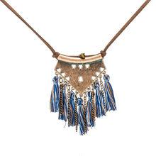 Długi skórzany łańcuch w stylu Vintage Boho etniczne Tassel wisiorek naszyjnik dla kobiet łańcuszek do zimowego swetra biżuteria akcesoria przedmiot sprzedaży(China)