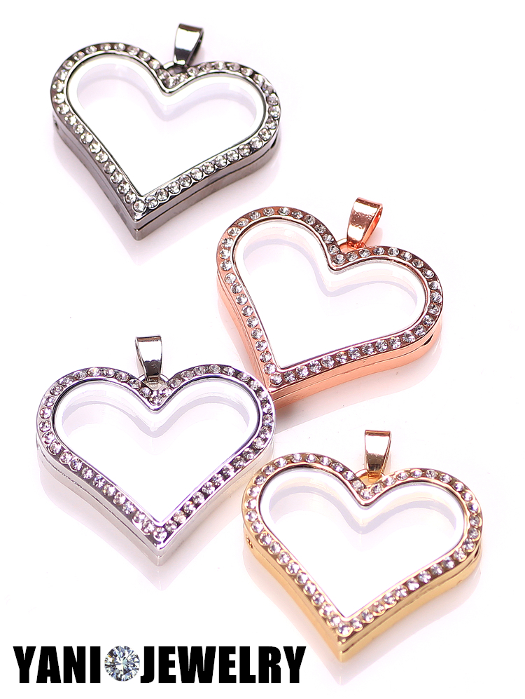 10pcs/lot Floating Heart magnetic glass floating charm locket Zinc Alloy+Rhinestone Free shipping (chains included for free)(China (Mainland))