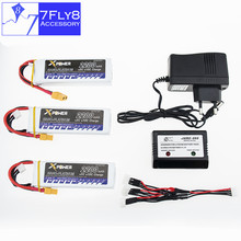 Lipo 11.1V 3S 2200mAh Lithium battery 30C Max 35C XT60 plug 3pcs with charger Xpower for rc drone Helicopter Airplane parts
